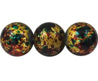 100 Drawbench Glass Beads, Spray Painted, Round, Yellow/Red/Green, 4mm